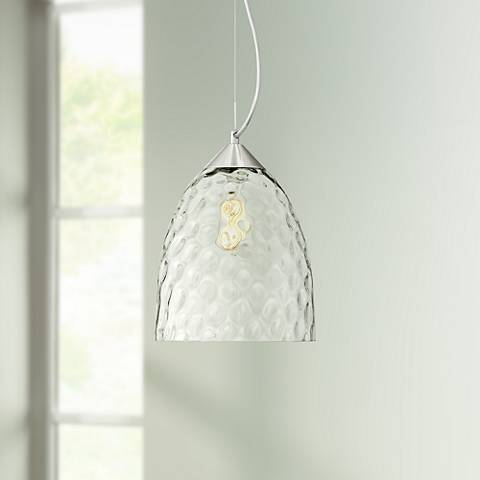 "Hadrian 9 3/4""W Brushed Nickel and Glass LED Mini Pendant"