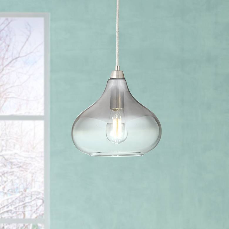 "Possini Euro Eun 9 1/2"" Wide Brushed Nickel LED Mini Pendant"