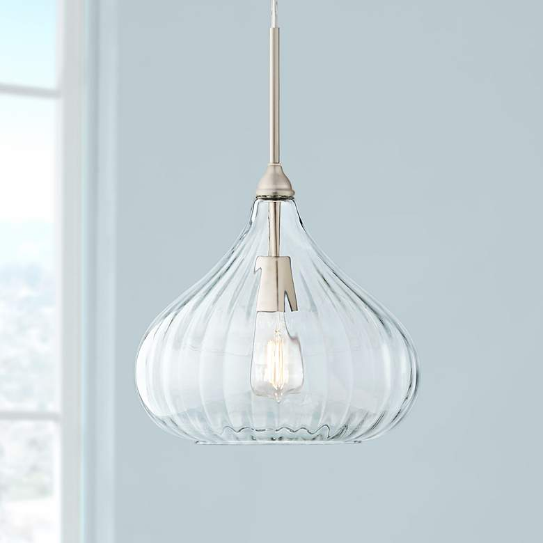 "Major 12 1/2"" Wide Nickel and Clear Glass LED Pendant Light"