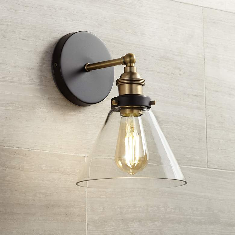"Burke 10 3/4"" High Bronze and Warm Brass LED Wall Sconce"
