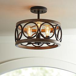 "Salima 16""W Black and Wood Grain 3-Light LED Ceiling Light"