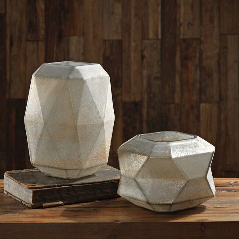 Luxmi Aged Gray Geometric Glass Vases - Set of 2