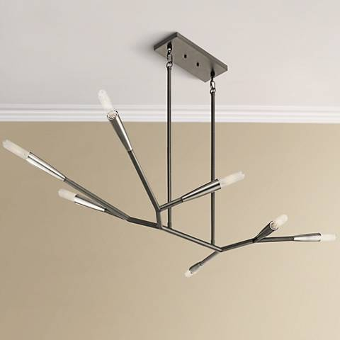 "Kichler Branches 49 1/4""W Black 7-Light Island Chandelier"