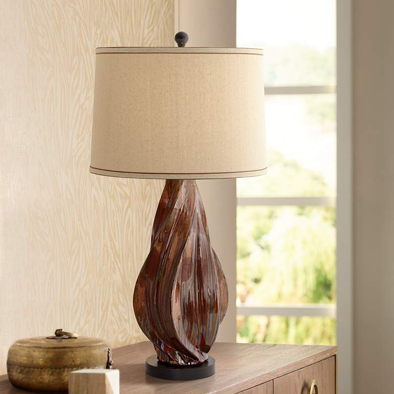 Teresa Copper Brown Modern Ceramic Table Lamp