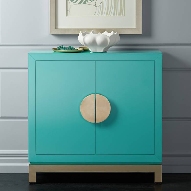 "Walden 36"" Wide 2-Door Glossy Blue Teal Accent Cabinet"