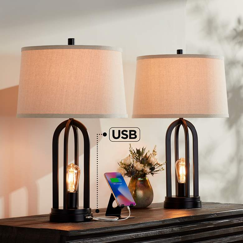 Marcel Black LED USB Night Light Table Lamps Set of 2
