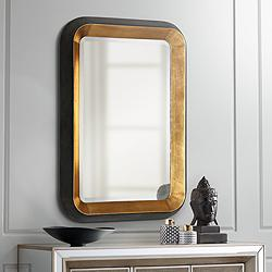 "Niva Antiqued Gold Leaf and Black 28"" x 42 1/4"" Wall Mirror"