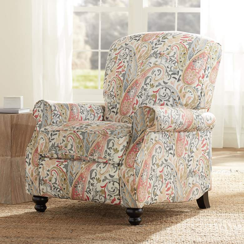 Ethel Coral Paisley Push Back Recliner Chair