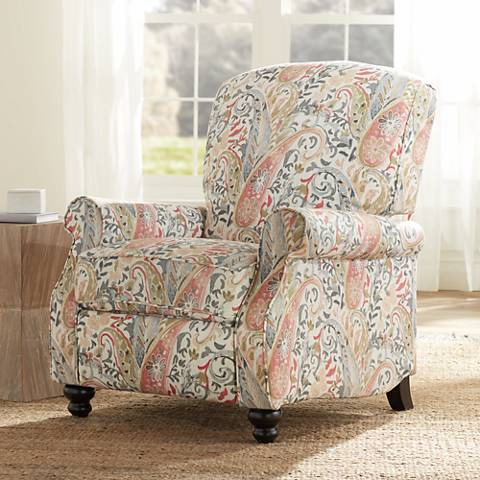 Coral Paisley Push Back Recliner Chair