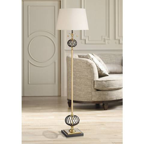 Navarro Cage Floor Lamp Brass and Gunmetal