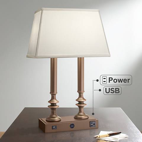 Carson Oxidized Bronze Desk Lamp with USB Port and Outlet