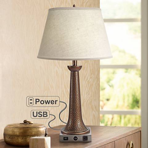 Dane Satin Nickel and Rust Table Lamp w/ USB Port and Outlet