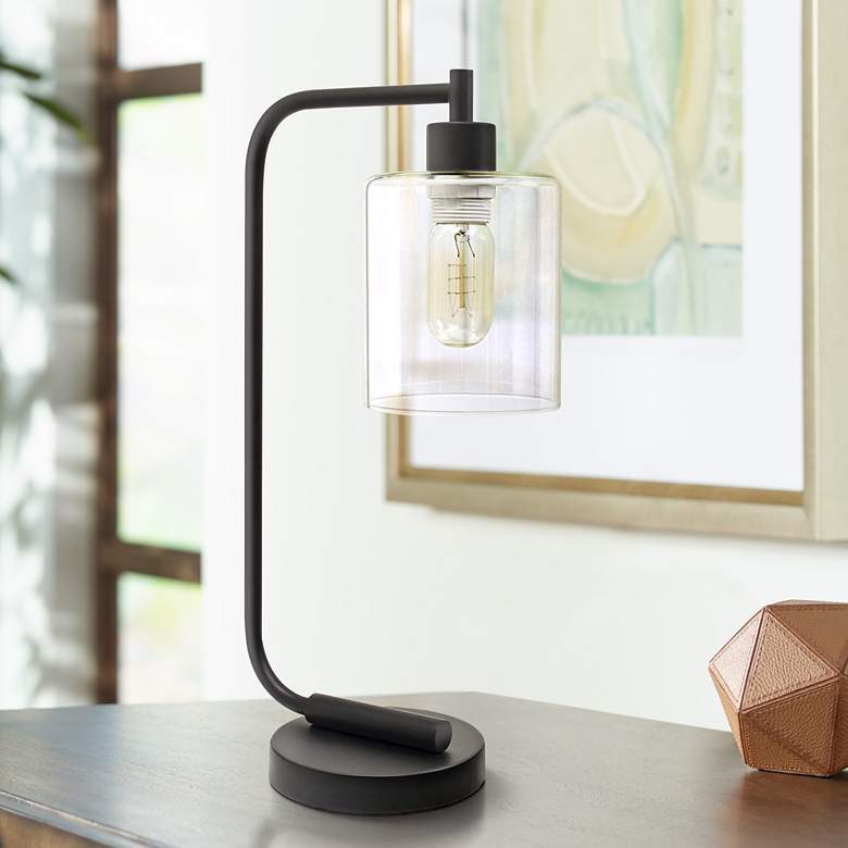 Botehlo Matte Black and Glass Shade Lantern Desk
