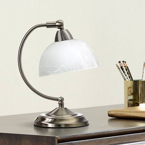 Bonanza Brushed Nickel Mini Banker's Desk Lamp