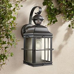 "Crista 14 3/4"" High Black Motion Sensor Outdoor Wall Light"