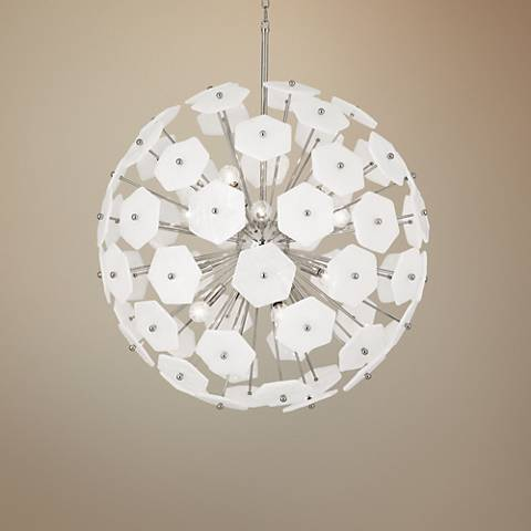 "Jonathan Adler Vienna 32 1/2""W Polished Nickel Pendant Light"