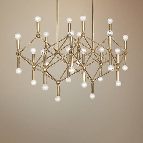 milano 44 wide polished brass 30 light chandelier 35p49 lamps plus