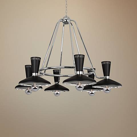 "Vortex 46 1/4""W Polished Nickel and Black 6-Light Chandelier"
