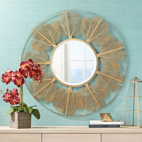"Delya Gold Leaf Metal 34"" Round Wall Mirror"