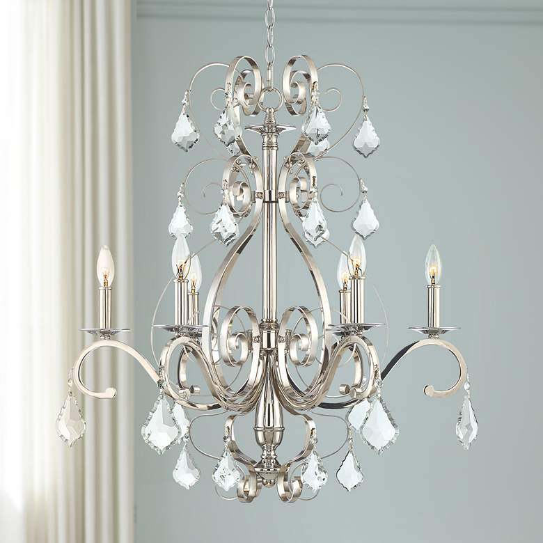 "Kathy Ireland Helena 28"" Wide Chrome 6-Light Chandelier"
