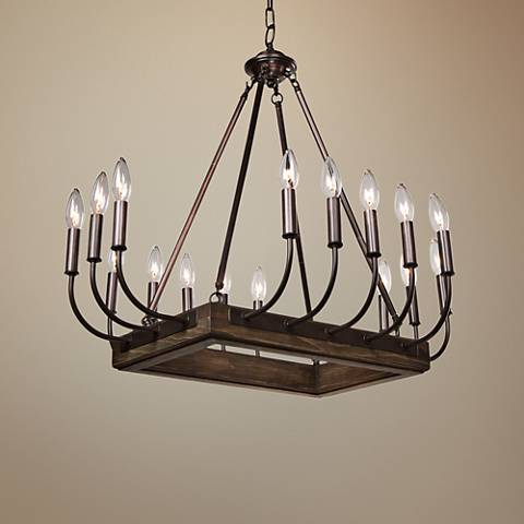 "Artcraft Aberdeen 29""W Brunito Bronze 16-Light Chandelier"
