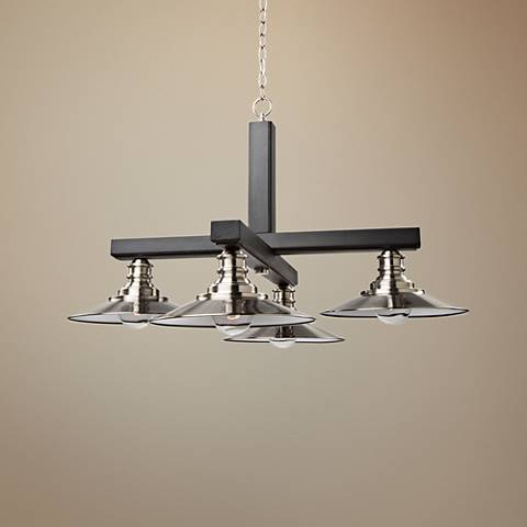 "Ambrose 31""W Dark Wood and Brushed Nickel 4-Light Chandelier"