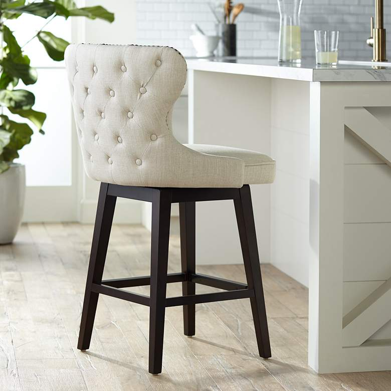 "Ariana Sand Linen 25 1/2"" Swivel Counter Stool"