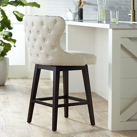 Hartley 25 Quot Wood And Bronze Metal Swivel Counter Stool