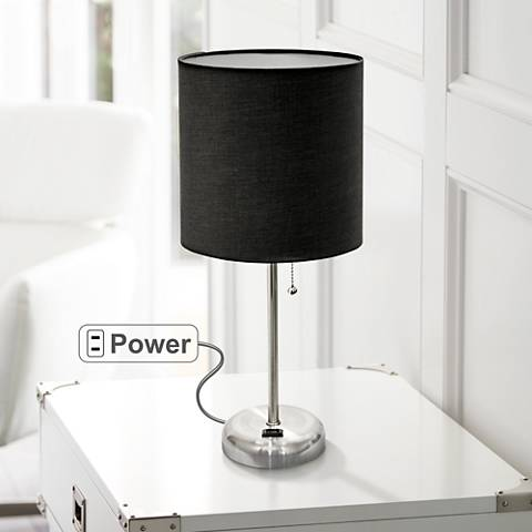 "Ben Brushed Steel 19 1/2""H Accent Table Lamp w/ Black Shade"