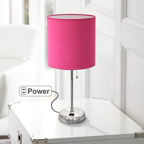 "Ben Brushed Steel 19 1/2""H Accent Table Lamp w/ Pink Shade"