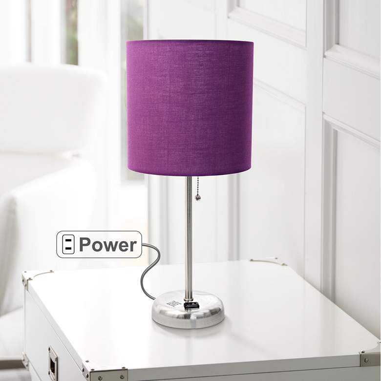 "Ben Brushed Steel 19 1/2""H Accent Table Lamp w/ Purple Shade"