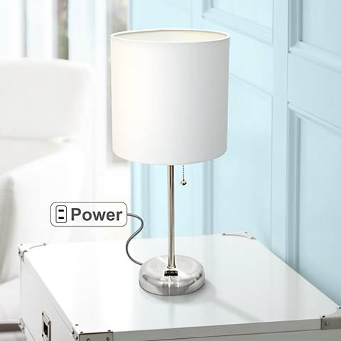"Ben Brushed Steel 19 1/2""H Accent Table Lamp"