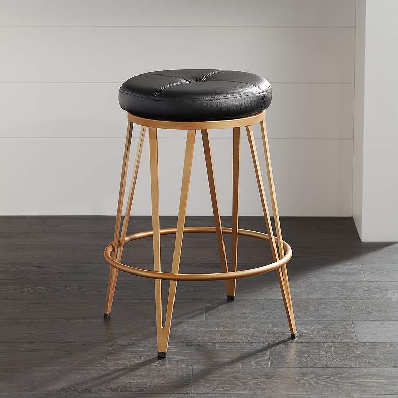Swell Matthews 26 Black Faux Leather Counter Stool Cjindustries Chair Design For Home Cjindustriesco