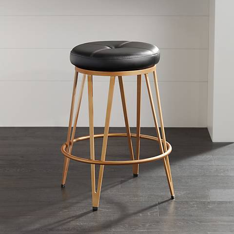 "Matthews 26"" Black Faux Leather Counter Stool"