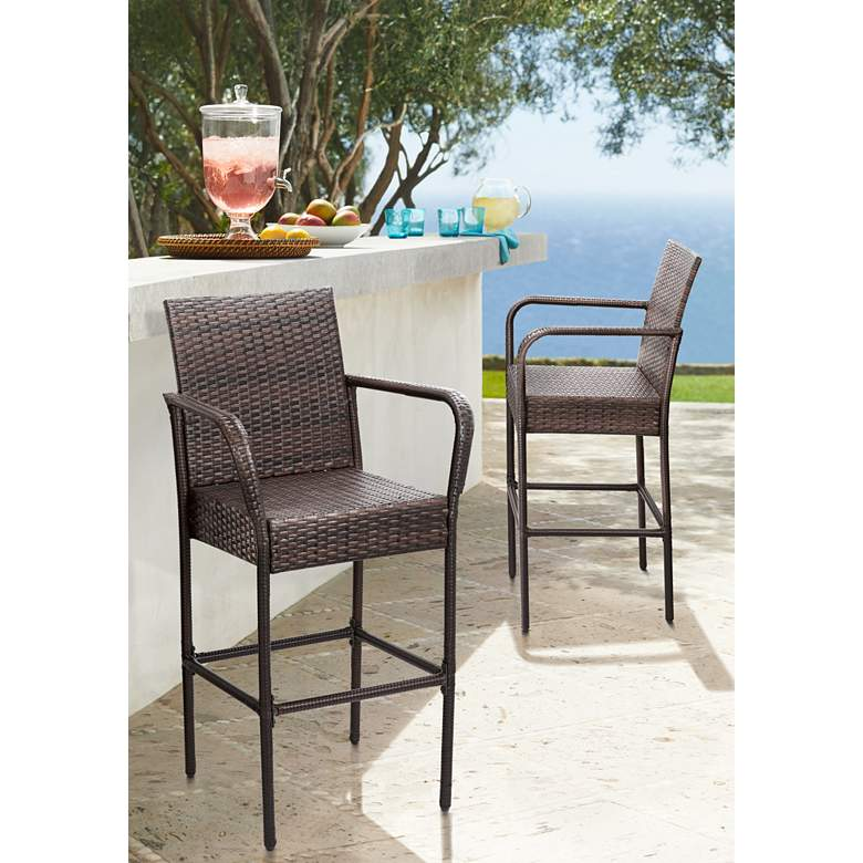 "Sorrento 30 1/2"" Brown Wicker Outdoor Bar Stools Set of 2"