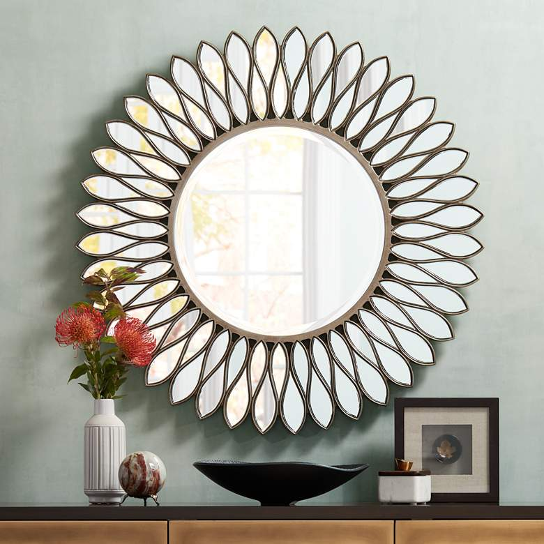 "Helios Warm Silver 36"" Sunburst Wall Mirror"