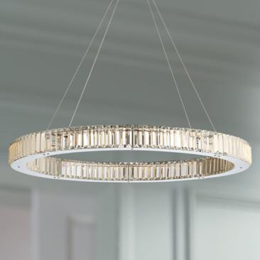 "Possini Euro Vesta 35 1/2"" Wide Chrome LED Pendant Light"