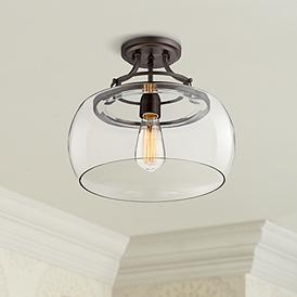 Charleston Bronze 13 1 2 Wide Clear Gl Led Ceiling Light