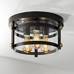Bronze flush mount ceiling lights lamps plus eagleton 13 12 wide oil rubbed bronze led ceiling light aloadofball Choice Image