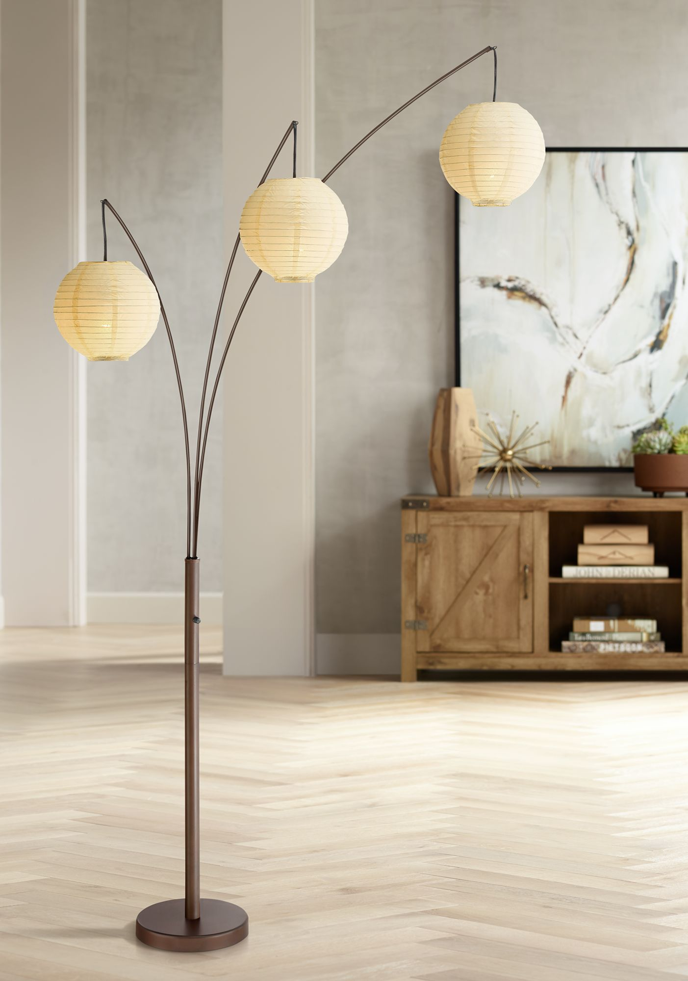 Marvelous Jojo Bronze Arc Floor Lamp With 3 Paper Lantern Shades