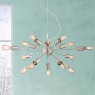 "Hemingson 32 1/2"" W Brushed Nickel 15-LED Sputnik Chandelier"