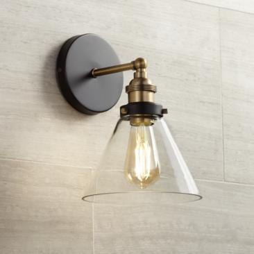 "Burke 10 3/4"" High Black and Warm Brass LED Wall Sconce"