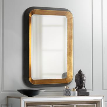 "Niva Antiqued Gold Leaf 28"" x 42 1/4"" Wall Mirror"