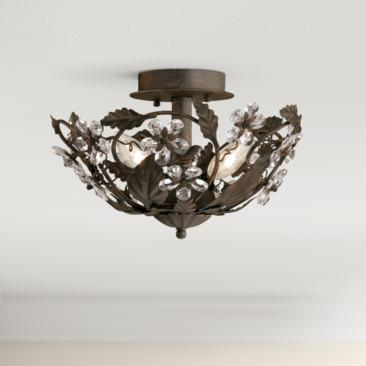 "Crystal Flowers 12"" Wide Bronze Ceiling Light Fixture"