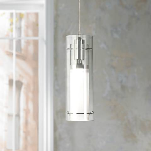 ET Clear Cylinder W Frosted Glass Pendant Light - 5 pendant light fixture
