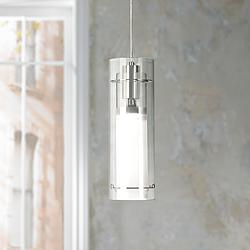 "ET2 Clear Cylinder 5 1/2""W Frosted Glass Pendant Light"