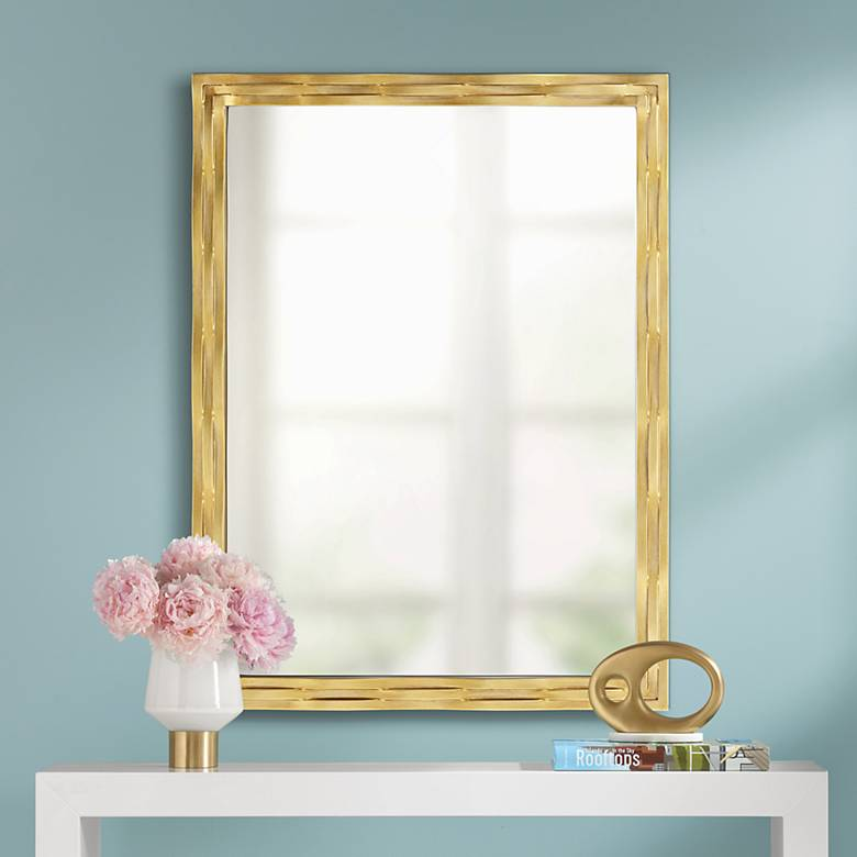 "Theodora 30"" x 40"" Gold Weaved Wall Mirror"