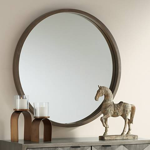 "Ferguson Brush Gray Wood 34"" Round Wall Mirror"