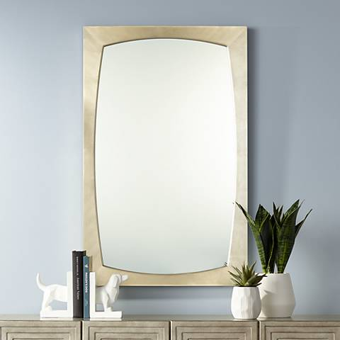 "Adams Silver Painted Frame 24"" x 38"" Wall Mirror"