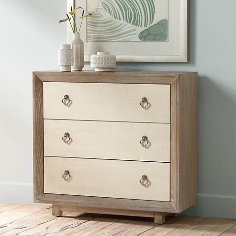 Ingrid Whitewash Oak Traditional 3-Drawer Cabinet